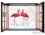 Fototapeta na flizelinie Flamingi - Widok przez otwarte okno 10199