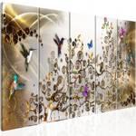 Obraz - Taniec kolibrów (5-częściowy) złoty wąski