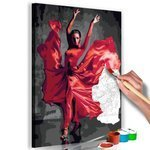 Obraz do samodzielnego malowania - Czerwona suknia