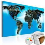 Obraz na korku - Niebieski świat [Mapa korkowa]